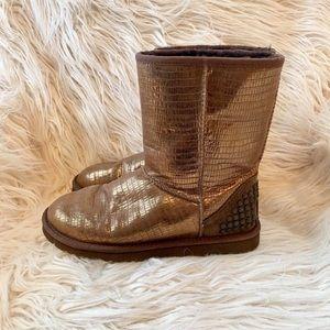 UGG Classic Studded Metallic Bronze Boots Sz 8